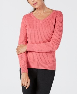 Karen Scott Solid Cable-Knit V-Neck Sweater, Created for Macy's