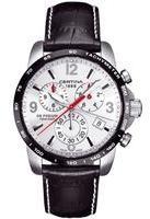 Gents Certina Black Leather Strap Chronograph Watch C0016172603700