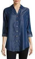 Foxcroft Chambray Button-Front Top