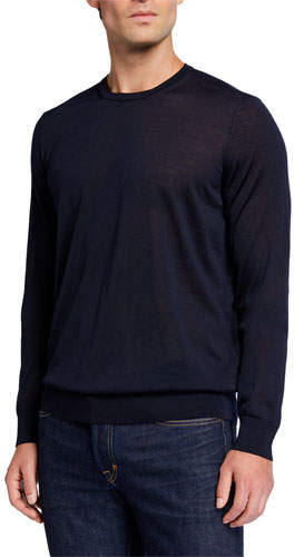342272da87 Men's Plain Knit Wool Sweater, Navy