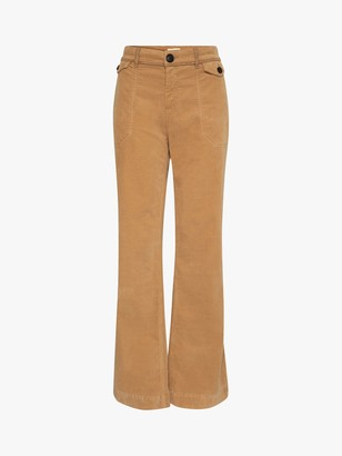 Gerard Darel Leonie Patch Pocket Flared Trousers, Brown