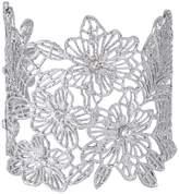 Ever Faith Crystal Filigree Hibiscus Victorian Style Wedding Cuff Bracelet N06199-4