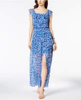 Nine West Printed Flounce Maxi Dress