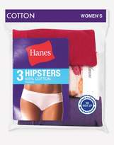 Hanes Women's No Ride Up 100% Cotton Hipsters 3 Pack,