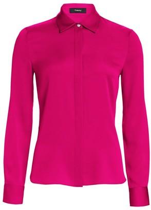 Theory Core Silk Button-Down Shirt