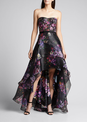 Marchesa Notte Strapless Floral-Print Organza High-Low Gown