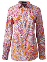 Classic Women's Petite Long Sleeve No Iron Shirt-Tibetan Red Floral