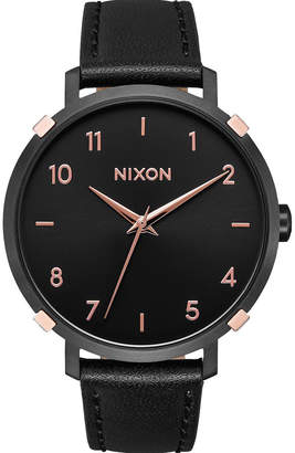 Nixon Arrow Leather Black & Rose Gold Watch