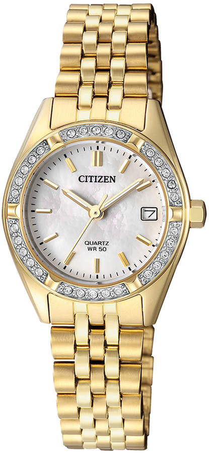 Citizen EU6062-50D Stainless Steel Quartz Date Watch in Gold