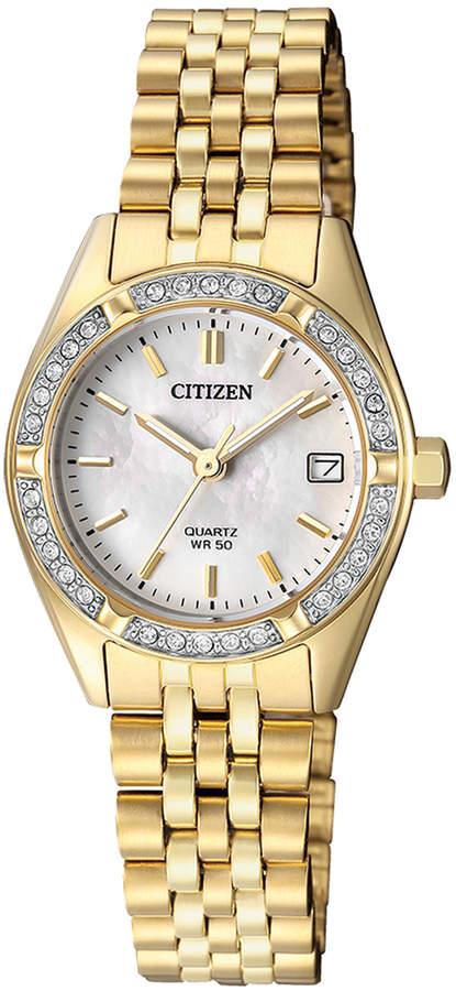 Citizen EU6062-50D Stainless Steel Quartz Date Watch in Gold