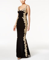 Betsy & Adam Illusion-Back Embroidered Gown
