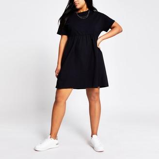 River Island Womens Plus Black poplin mini T-shirt dress