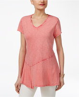 Style&Co. Style & Co Petite Cotton Asymmetrical Flounce Top, Only at Macy's