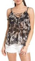 Soprano Women's Lace-Up Ruffle Tank