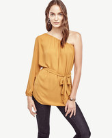 Ann Taylor Belted One Shoulder Blouse