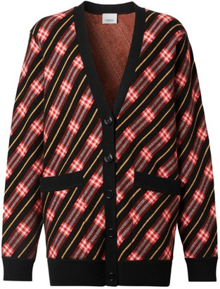 Burberry Merino Wool Blend Striped Cardigan