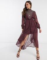 Asos Design DESIGN embroidered yoke midi dress
