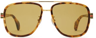 Gucci Web-striped Aviator Acetate Sunglasses - Mens - Tortoiseshell