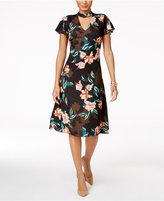 Julia Jordan Printed Flutter-Sleeve Choker Dress