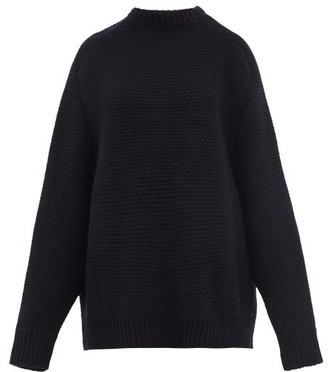 Raey Crew-neck Basketweave Wool Sweater - Navy