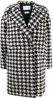 Harris Wharf London Houndstooth Single-Breasted Coat