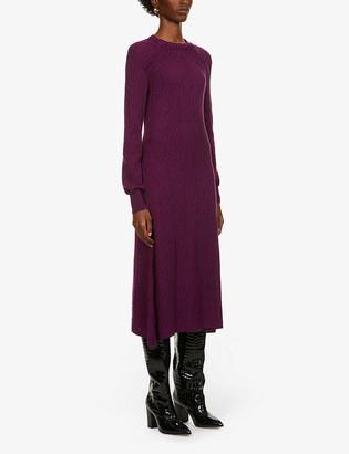 Alberta Ferretti Abstract-pattern wool midi dress
