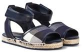 Burberry Navy Check Livvy Espadrille Sandals