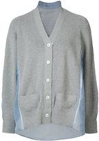 Sacai mesh panel cardigan - women - Silk/Cotton/Polyester - 3
