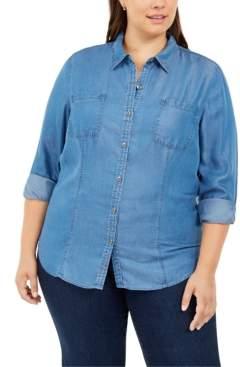 Charter Club Plus Size Denim Utility Shirt, Created For Macy's