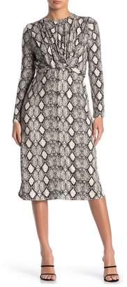 Velvet Torch Snake Waist Tie Midi Dress