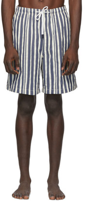 Solid and Striped Blue and White Stripe The Long Classic Swim Shorts
