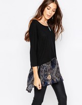 Only Karen Long Boxy Top With Printed Layer