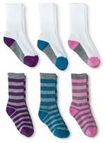 Circo Girls' 6-Pack Athletic Crew Socks - Purple/Blue/Pink 5.5-8.5