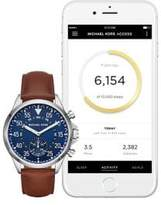 Michael Kors Gage Stainless Steel Leather Strap Hybrid Smartwatch