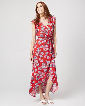 Le Château Floral Viscose Crepe Wrap-Like Maxi Dress