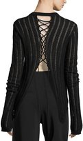 A.L.C. Miguel Semisheer Laced Sweater, Black