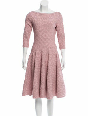 Alaia Fit and Flare Midi Dress Pink