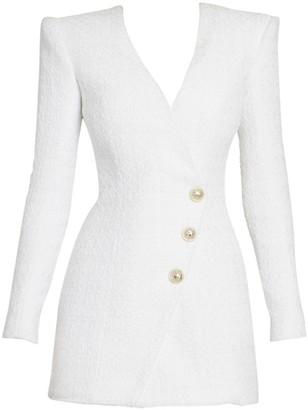 Balmain Long-Sleeve Tweed Wrap Mini Dress