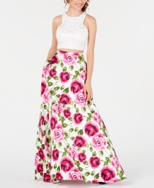 B. Darlin Juniors' 2-Pc. Lace Floral-Print Gown
