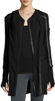 Blanc Noir Leather-Trim Long-Line Moto Hoodie