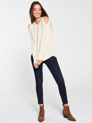 Very Fisherman Rib Shoulder Detail Jumper - Oatmeal marl