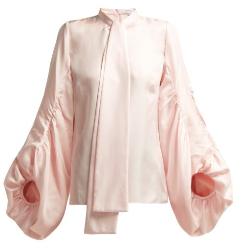 Andrew Gn Gathered Balloon Sleeve Silk Blouse - Womens - Light Pink