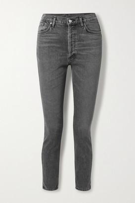 Gold Sign + Net Sustain High-rise Slim-leg Jeans - Gray