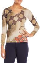 rani arabella Printed V-Neck Sweater