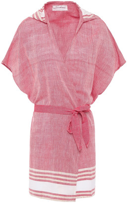 SUNDRESS Copacabana Striped Cotton-blend Gauze Hooded Coverup
