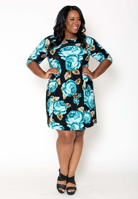 Sealed With A Kiss Sealed w/ A Kiss Isabella Swing Dress in Isabellaswing Blue-Floral Size 1X