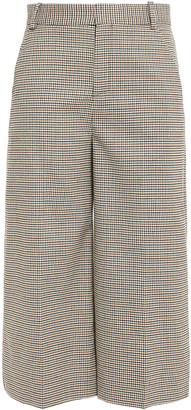Maje Cropped Houndstooth Woven Wide-leg Pants