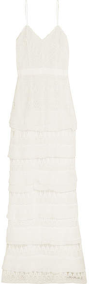 Self-Portrait Penelope Tiered Crepon-trimmed Guipure Lace Gown - White