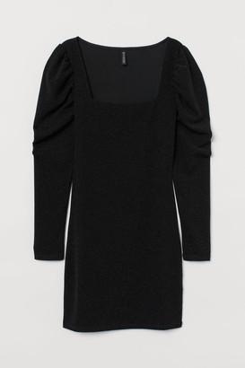 H&M Puff-sleeved Jersey Dress - Black