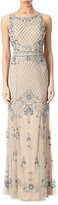 Adrianna Papell Petite Beaded Mermaid Gown, Silver/Nude